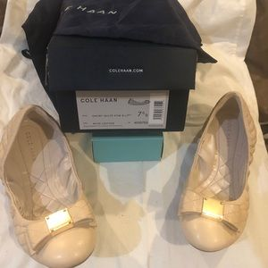 NIB Cole Haan Emory Quilted Bow Ballets, Nude, 7.5